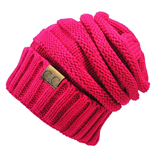 Gome-z 13 colors Unisex Winter Knitted Wool Cap Women Men Folds Casual CC labeling Beanies Hat Solid Color Hip-Hop Beanie Hat Gorros Rose Red
