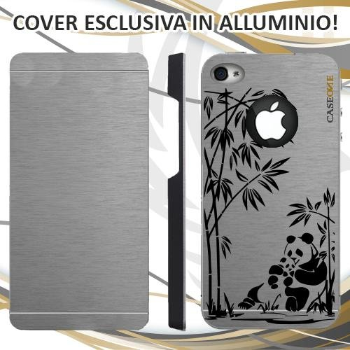 CUSTODIA COVER CASE PANDA ùFORESTA PER IPHONE 4 ALLUMINIO TRASPARENTE