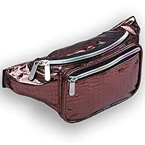 Holographic Fanny Packs for Women - Festival Waist Pack for Women with Iridescent Colors (Crocodile Coffe)