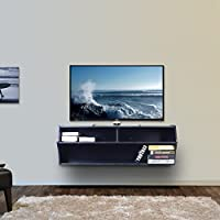 DEVAISE 43.3 Floating TV Stand Wall Mounted Audio Console, Black