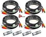 ACELEVEL 4 PACK PREMIUM 100Ft.THICK BNC EXTENSION CABLES FOR NIGHTOWL SYSTEMS BLACK