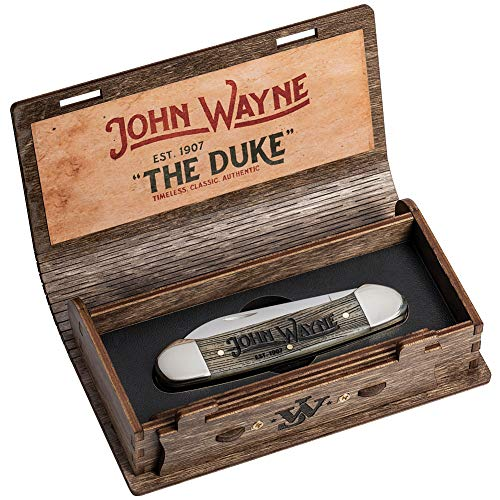 (John Wayne The Duke Knife And Box Set Genuine Case Collectible w/Medallion)