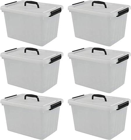 Qshape Caja Almacenaje de Plástico Transparente con Tapa y Asa, Paquete de 6 Unidades: Amazon.es: Hogar