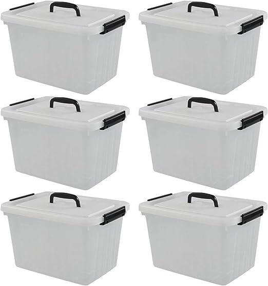 Qshape Caja Almacenaje de Plástico Transparente con Tapa y Asa ...