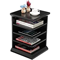 Yaheetech Magazine Rack Reader's Side End Table / Night Stand with 4 Shelf, Contemporary Black