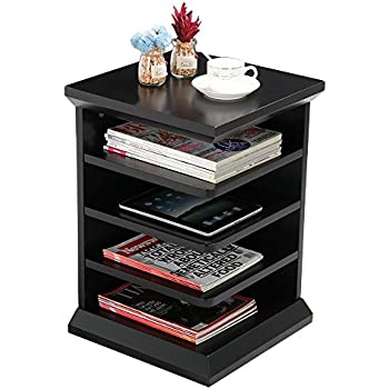 Genial Yaheetech Magazine Rack Readeru0027s Side End Table/Night Stand With 4 Shelf,  Contemporary Black