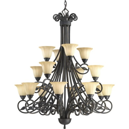 84 Espresso Finish Chandeliers - Progress Lighting P4147-84 16-Light 3-Tier Chandelier with Weathered Sand Stone Glass and Leaf Accents, Espresso