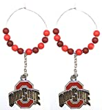 NCAA Officially Licensed Ohio State Buckeyes Beaded Chain Dangle Hoop Earrings
