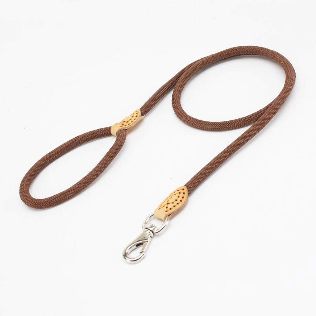 Brown L Brown L Huertuer Traction Rope, Dog leash Pet Chain Nylon Weave Hiking Training Outdoor Travel Soft Comfortable and Durable Multi color Optional (Black, bluee, Brown, Red) (color   Red, Size   L)