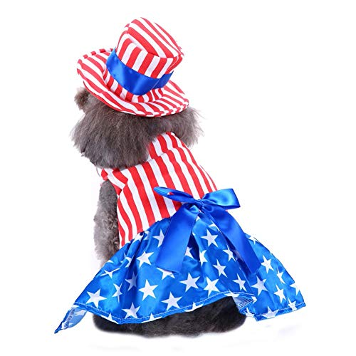 Adarl Pet Halloween&Christmas Costumes American Woman Clothes Apparel Set for Puppy Dog Cat XL