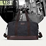 Black Bag Vintage Men Leather Canvas Luggage Weekend Travel Duffle Retro Lightweight Gym Bags Overnight Shoulder Bags