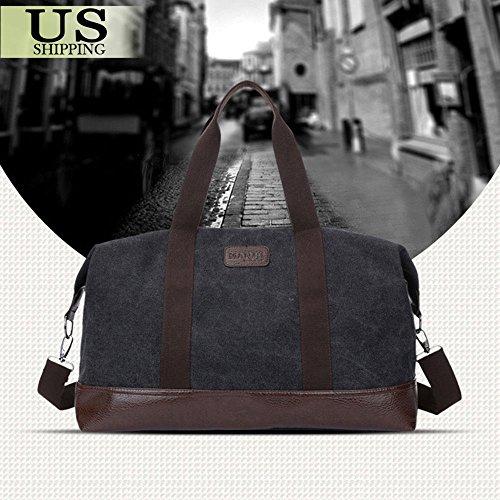 Black Bag Vintage Men Leather Canvas Luggage Weekend Travel Duffle Retro Lightweight Gym Bags Overnight Shoulder Bags