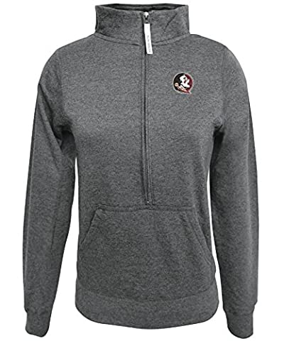 NCAA Florida State Seminoles Women's 1/2 Zip 50/50 Fleece Top, Gray, Small - Florida State Fleece Fabric