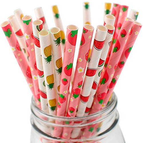 Straws Fruit - 50Pcs Paper Drinking Straws for Hawaii Beach Pool Party Wedding Decoration, 7.75 Inches Decorative Straws (Four Fruits Theme)