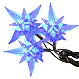 80 Bright Blue LED Multi-Function Flashing Christmas Lights With Star Shades