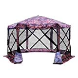 Outsunny 11.5'x11.5' 6-Sided Hexagonal Pop Up Portable Gazebo Canopy Tent with Mesh Netting Sidewalls- Flower Pattern