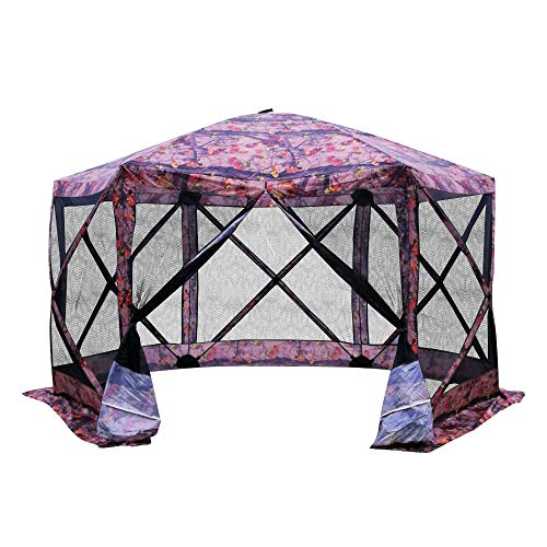 Outsunny 11.5'x11.5' 6-Sided Hexagonal Pop Up Portable Gazebo Canopy Tent with Mesh Netting Sidewalls- Flower Pattern ()