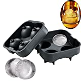 Beyonta Ice Ball Maker Mold, Silicon Spheres Ice Tray with Molds 4 x 4.5cm Ice Ball Spheres for Scotch, Whiskey,Cocktails by Beyonta