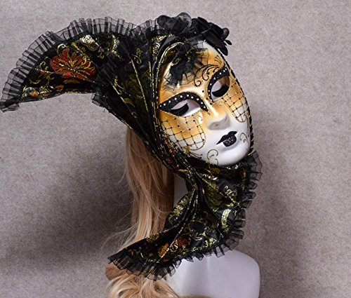 Festival Supreme Costumes - Halloween black lace dressup Venice sexy lady drama princess cosplay masquerade face mask