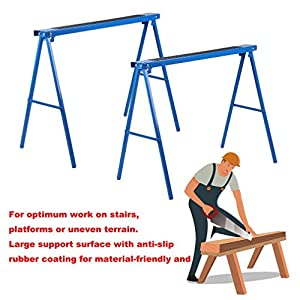 Homgrace Sawhorse Folding Metal Sawhorse -collapsible Twin pack