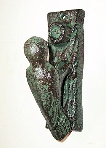 ABC Products - Solid Heavy Cast Iron - Hammer Type - Woodpecker Door Knocker - On A Log - Has That Old World Look - (Green Patina Finish - Primitive (Primitive Log)