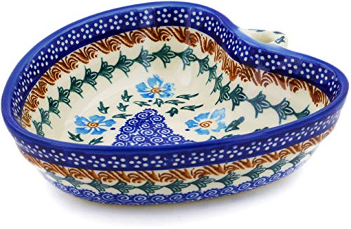 - Polish Pottery 6¼-inch Heart Shaped Bowl (Blue Cornflower Theme) + Certificate of Authenticity