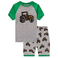 Family Feeling Tractor Big Boys Short Sleeve Pajamas Sets 100% Cotton Summer Pyjamas Kids Pjs Size 8 Tractor