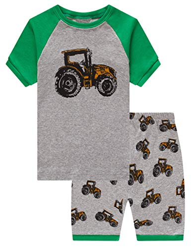 Family Feeling Tractor Big Boys Short Sleeve Pajamas Sets 100% Cotton Summer Pyjamas Kids Pjs Size 8 Tractor ()