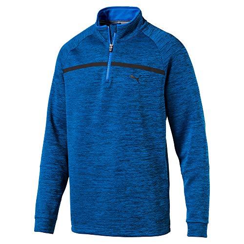 (PUMA Golf Men's 2018 Pwrwarm Bonded 1/4 Zip Outwear, Electric Blue Lemonade Heather, XX-Large)