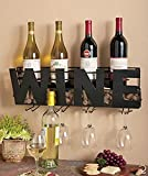 "Besti Premium Black Wall Mount Metal Wine Rack With ""WINE"" Word By Hanging Horizontal Bottle Holder Storage Decorative Display – Sturdy Construction –Home Décor For Living Room Or Kitchen (Wine)"