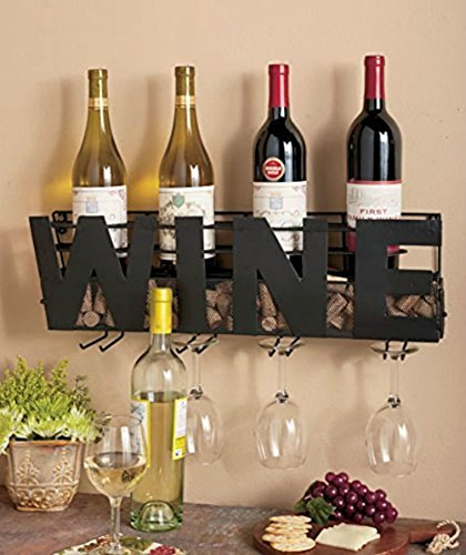 "Besti Premium Black Wall Mount Metal Wine Rack With ""WINE"" Word By Hanging Horizontal Bottle Holder Storage Decorative Display – Sturdy Construction –Home Décor For Living Room Or Kitchen (Wine) by Besti"