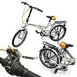 "GHP 6-Speed Silver 20"" Wheel Adjustable Seat Height Folding Bike w Kick Stand"