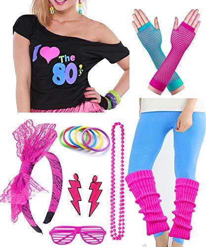 Plus Size Womens 80s Pop Star Party Fancy Costume Outfit T-Shirt Accessory (XXL/XXXL, Blue) -