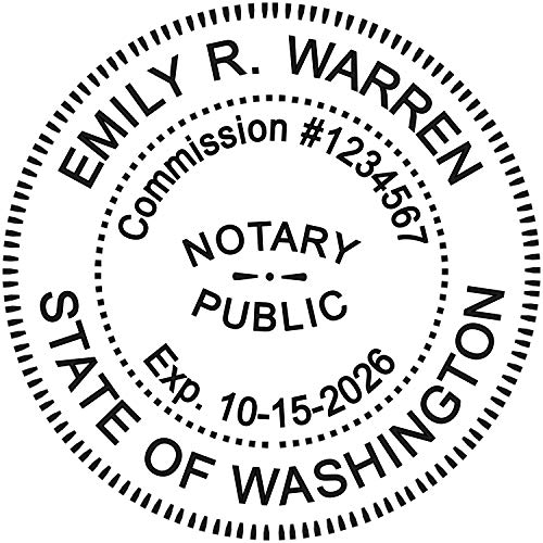 Round Notary Pre-inked Stamp for State of Washington- Customized in one day with ()