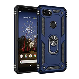 """Google Pixel 3A Case, Extreme Protection Military Armor Dual Layer Protective Cover with 360 Degree Unbreakable Swivel Ring Kickstand for Google Pixel 3A 5.6"""" Blue"""