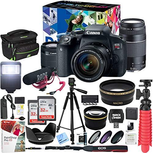 Canon EOS Rebel T7i DSLR Camera Deluxe Video Creator Kit with EF-S 18-55mm is STM Lens & EF 75-300mm Lens and 2 32GB SDHC Memory Cards + 58mm Wide Angle & Telephoto Lens Tripod Cleaning Kit Bundle