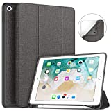 Soke New iPad 9.7 2018 2017 Case with Pencil Holder - Smart iPad Case Trifold Stand with Shockproof Soft TPU Back Cover and Auto Sleep Wake Function for iPad 9.7 inch 5th 6th Generation - Dark Grey