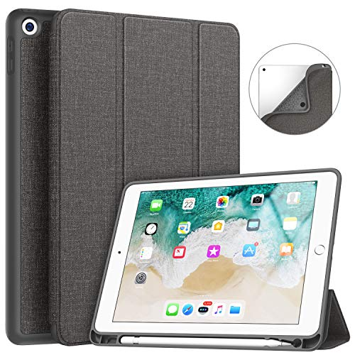 Soke iPad 9.7 2018/2017 Case with Pencil Holder, Smart iPad Case Trifold Stand with Shockproof Soft TPU Back Cover and Auto Sleep/Wake Function for iPad 9.7 inch 5th/6th Generation, Dark Grey (Pencil Cases Small)