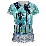 Hawaii Holiday T-shirt Women Summer Beach Coconut Palm T-shirt , L=(US M)
