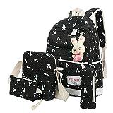 Clearance!Women Bags❤️COPPEN 4 Sets Cute Fashion Women Girl Rabbit Animals Travel Backpack School Bag Shoulder Bag Handbag (Black)