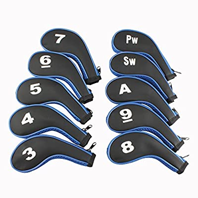 3-SW 10pcs Long Neck Iron Durable Zippered Head Covers Black & Blue Fit All Brands Titleist, Callaway, Ping, Taylormade, Cobra, Nike, Etc.