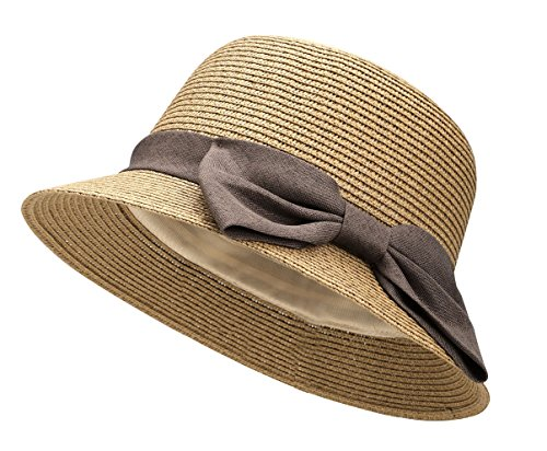 Lullaby Womens Wide Brim Straw Sun Hat w/Large Decorative Bow and Drawstring