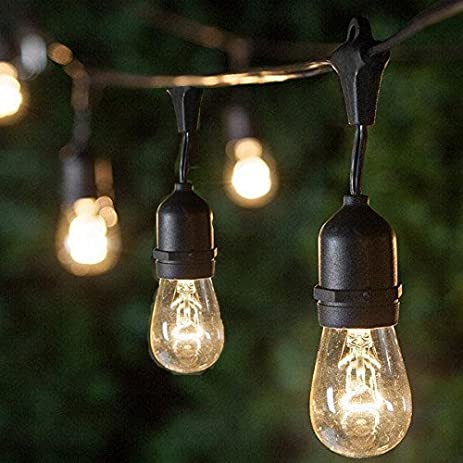 Brightown Ambience Commercial Grade Outdoor String Lights With Hanging  Sockets   48 Ft Market Cafe Edison