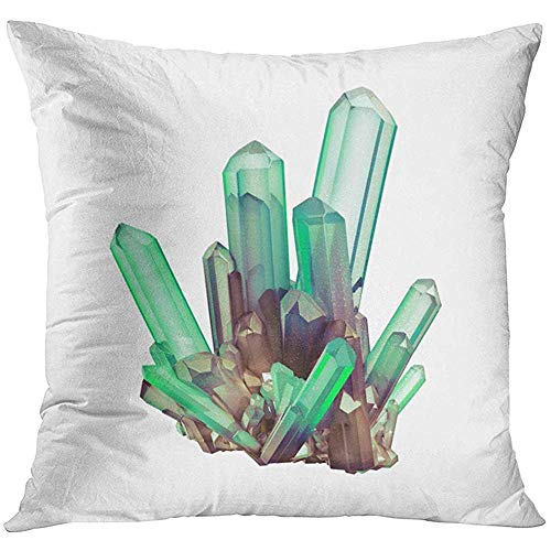 - Throw Pillow Cover 3D Render Digital Abstract Green Crystals Faceted Gem Geology Nugget Minerals Collection Clip White Decorative Pillow Case Home Decor Square 18x18 Inches Pillowcase
