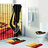 worry-freepurchase New traditional African American Women pattern shower curtain mat 4 sets