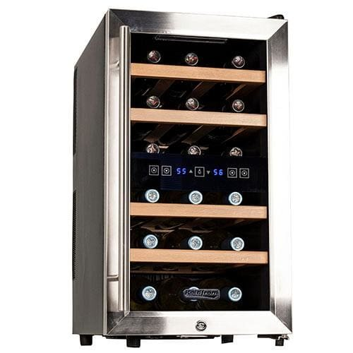 Koldfront TWR187ESS 18 Bottle Free Standing Dual Zone Wine Cooler, Black and Stainless Steel by Koldfront