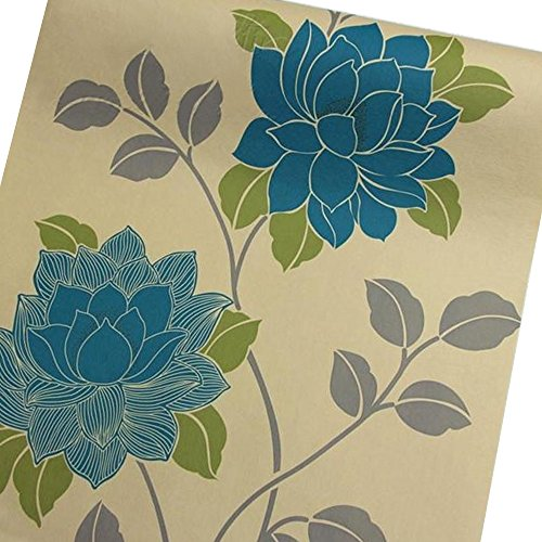 Review SimpleLife4U Large Blue Peony Self-Adhesive Shelf Drawer Liner Moisture Proof By SimpleLife4U by SimpleLife4U