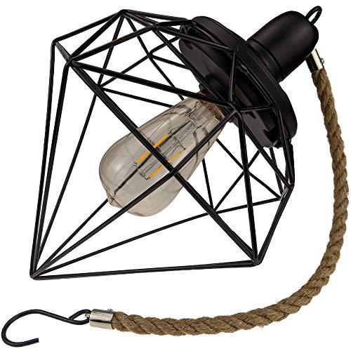 Yard Island Solar LED Edison Bulb Large Hanging Cage Lantern (Style 4)