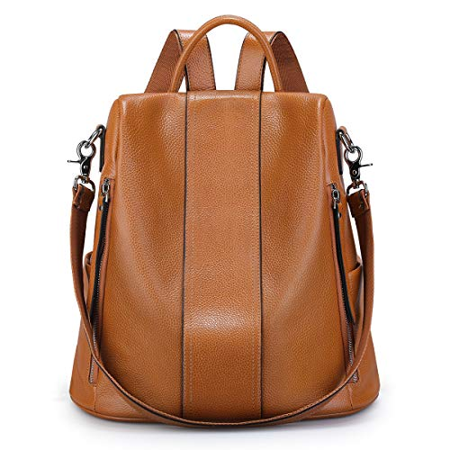 S-ZONE Soft Leather Backpack for Women Anti-theft Rucksack Ladies Waterproof Shoulder Bag(brown)