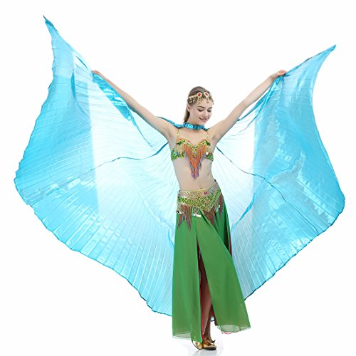 iMucci 140CM With Stick 360 Degree Egypt Indian Belly Dance Wing - Fan Bellydance Isis Wings Adult Sky Blue With - 360 140